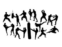 Martial Art and Boxing Silhouettes stock photo
