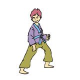 Martial art boy cartoon Stock Photography