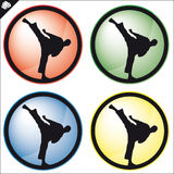 Martial art colored simbol set. Vector. Stock Photography