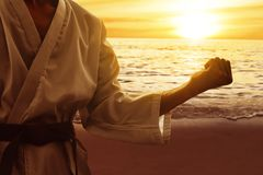 Martial arts fighter training on the beach stock photo