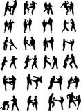 Martial Art Fighters. Vector Silhouette Images of Martial Art Fighters Stock Photography