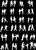 Martial Art Fighters. Vector Silhouette Images of Martial Art Fighters Royalty Free Stock Photo