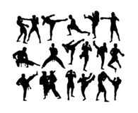 Martial Art and Boxing Activity Silhouettes stock image