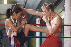Martial art kick and counterblow. Royalty Free Stock Images