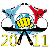 Martial art in New Year, Christmas. vector illustration