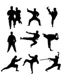 Martial Art Silhouettes Stock Image