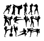 Martial Art Sport Activity Silhouettes royalty free stock image
