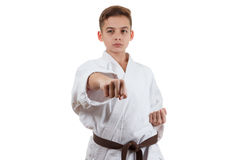 Martial art sport karate - child teen boy in white kimono training punch and block royalty free stock images