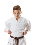 Martial art sport karate - child teen boy in white kimono training punch Stock Photography