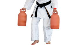 Martial art stance with vases Stock Photo