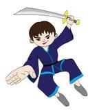 Martial artist cartoon. A cartoon illustration of a  martial artist using a sword Stock Photo