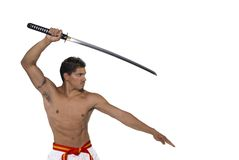 Martial Arts. Male Red Belt with Katana royalty free stock photo