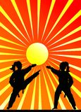 Martial arts. Of the abstract sunset Royalty Free Stock Photography