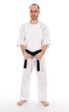 Martial arts. White man doing martial arts on isolated background Stock Photo