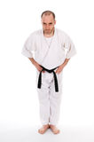 Martial arts. White man doing martial arts on isolated background Royalty Free Stock Photos