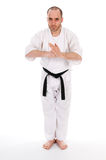 Martial arts. White man doing martial arts on isolated background Royalty Free Stock Image