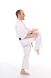 Martial arts. White man doing martial arts on isolated background Royalty Free Stock Photo