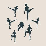 Martial arts active women silhouettes Stock Images