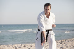 Martial Arts on the beach Royalty Free Stock Photography