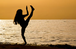 Martial arts on the beach at sunrise royalty free stock photography
