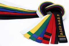 Martial Arts Belts 2. From White Belt to Black belt stock photography