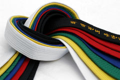 Martial Arts Belts 3. From White Belt to Black belt royalty free stock photo