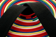 Martial Arts Belts - circle. From White Belt to Black belt, circle arrangement royalty free stock photo