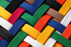 Martial Arts Belts. Colorful of martial arts belts rank system background Royalty Free Stock Photos