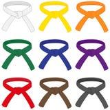 Martial arts belts. With different rank colors. Karate, Taekwondo, judo, jujitsu, kickboxing, or kung fu belts vector set Stock Photos