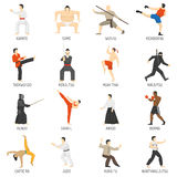 Martial Arts Decorative Flat Icons Set Royalty Free Stock Photography
