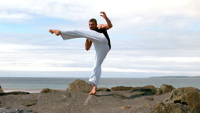 Martial arts expert practicing by the coast stock video