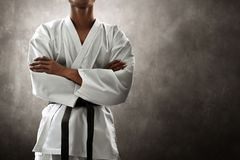 Martial art fighter action pose royalty free stock photo