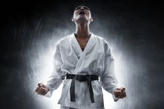 Martial arts fighter angry and scream stock image