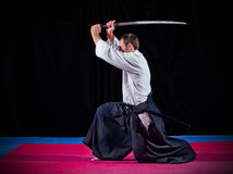 Martial arts fighter with katana Stock Photography