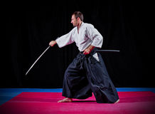 Martial arts fighter with katana Stock Photos