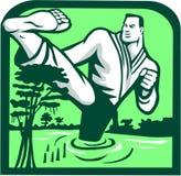 Martial Arts Fighter Kicking Cypress Tree Retro Royalty Free Stock Image