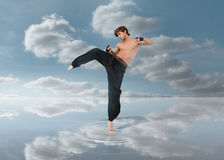 Martial arts fighter over puddle Stock Images