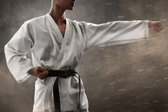 Martial art fighter punch training stock photo