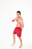 Martial arts fighter wearing red shorts and Royalty Free Stock Image