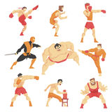 Martial Arts Fighters Demonstrating Different Technique Kicks Set Of Asian Fighting Sports Professional In Traditional. Fighting Outfits Sportive Clothing. Fun Stock Photo