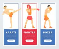 Martial arts fighters, karate, fighter, boxer banners cartoon vector elements for website or mobile app. With sample text Royalty Free Stock Photography