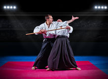Martial arts fighters at sports hall Royalty Free Stock Images