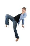 Martial Arts Flying Knee Royalty Free Stock Image