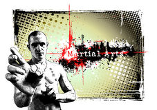 Martial arts frame. Illustration of the fighter in the grungy background Royalty Free Stock Photo