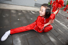 Martial arts girl. Chinese little girl martial arts performance Royalty Free Stock Photo