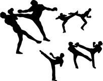 Martial Arts - High Kick Set 01. An assortment of silhouettes of Savateurs, practitioners of the French kickboxing art of Savate, performing techniques common to Stock Images