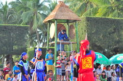 Martial arts of human chess in a festival on the beach of Nha Trang city Royalty Free Stock Images