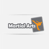 Martial Arts Icon. Icon of a silhouette doing standing side kick Stock Images
