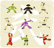 Martial arts icons. (9 warriors in the fight positions Royalty Free Stock Images