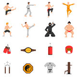 Martial Arts Icons Set Royalty Free Stock Photography